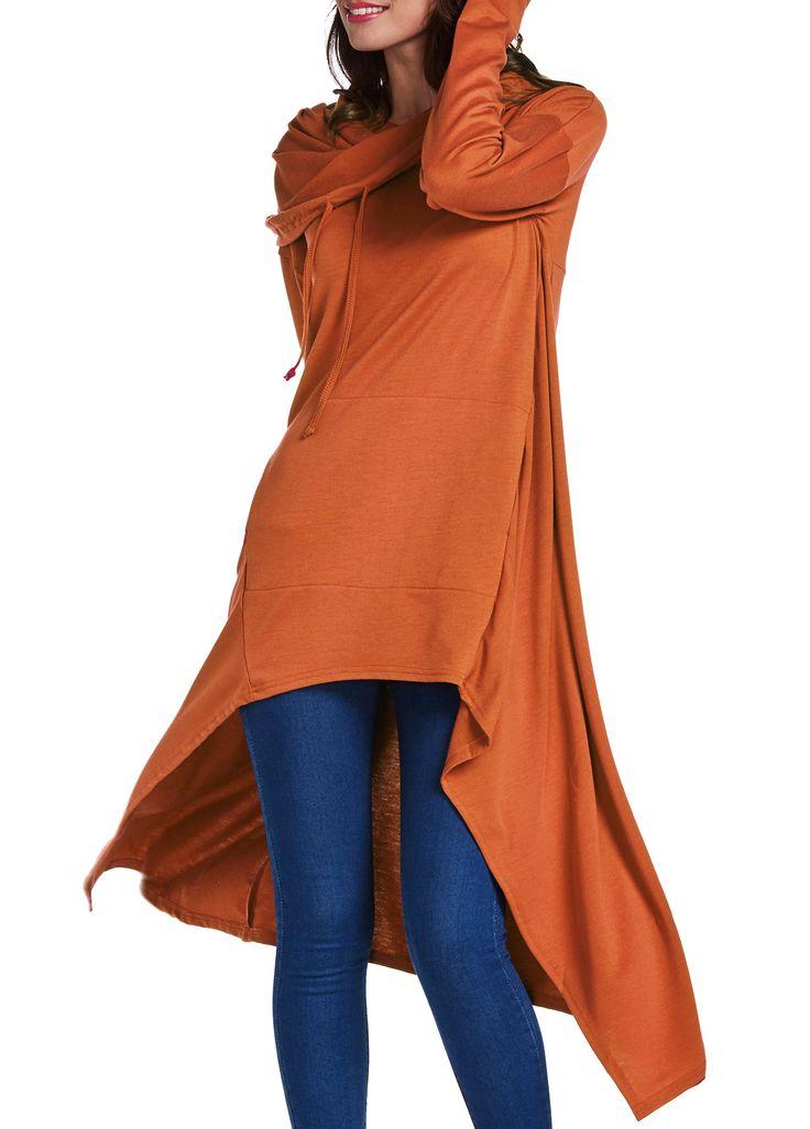 Asymmetric Hem Solid Orange Glove Sleeve Pocket Hoodie on sale only US$33.32 now, buy cheap Asymmetric Hem Solid Orange Glove Sleeve Pocket Hoodie at lulugal.com
