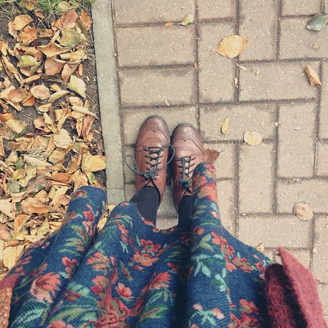 Fall outfit...floral, tights and oxfords