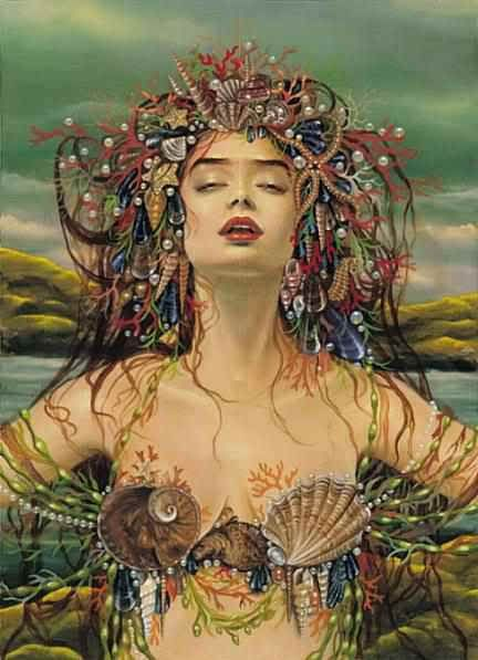 Lilith, Moon In Pisces, Neptune-Dreaming, astrology, mystic medusa: Mystic, Sirens, Queen, Goddesses, The Ocean, Mermaids Art, Maxine Gadd, Hair, The Sea