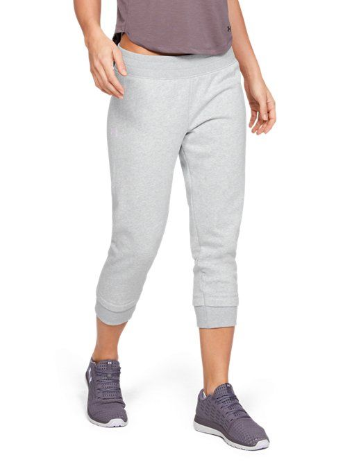 ccc71391db Under Armour Womens Rival Fleece Crop - Aluminum Light Heather LG in ...