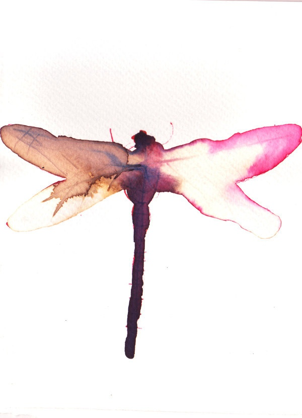 pink brown and white dragonfly. original watercolour/ink/bleach painting. £20.00, via Etsy.
