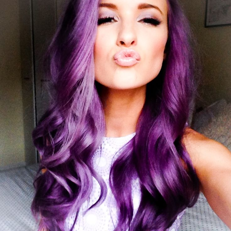 Purple Violet Hair, Nude Lips and Purple eyeshadow @inthefrow