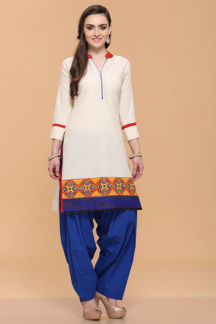 Boho tunic top blouses and dress 4009 trendy boho vintage gypsy - Casual Kurtis Cotton Cream Silky Slub Kurti Quarter Sleeve Tops In Uk