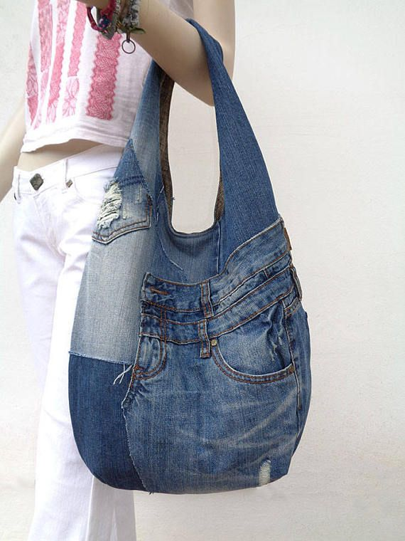 Denim hobo bag slouchy purse sling bag grab bag recycled