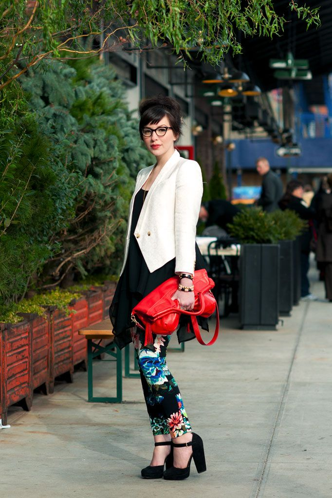 #6: KEIKO LYNN  Designer and Style Blogger  http://www.keikolynn.com    -Helmut Lang Blazer  -Twist & Tango Dress  -H Floral Pants  -Foley + Corinna Bag  -Nine West Shoes
