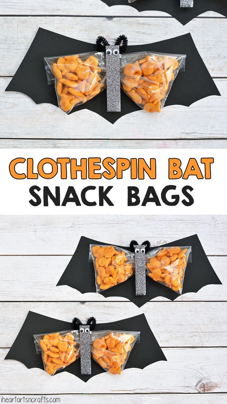 Clothespin Bat Preschool Halloween Snack. These would be great for a kids Halloween party at school!