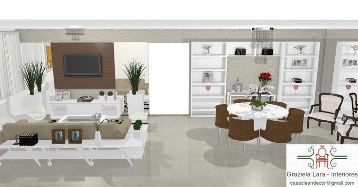 Construindo Minha Casa Clean: Consultoria de Decoração 3D Online: Salas Integradas com Adega!