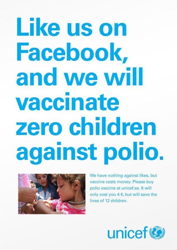 "Unicef's ""Likes Don't Save Lives"" social media campaign targeted the online ""slacktivist."""