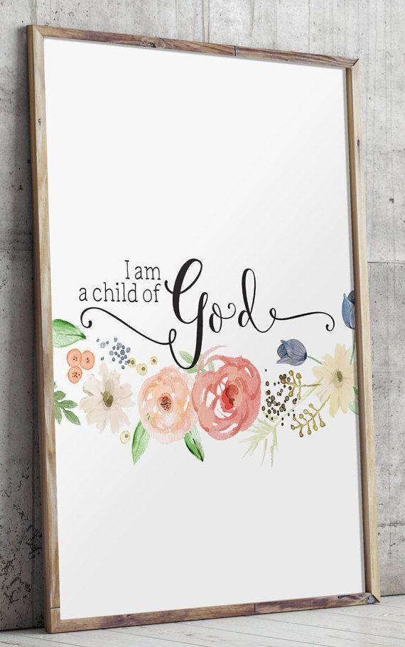 Baby Mädchen Kindergarten Zitat drucken, Bibel Vers Kunst, Wandtattoo Kinderzimmer Wand, ich bin ein Kind Gottes drucken, sofortigen Download, Wandkunst BD576