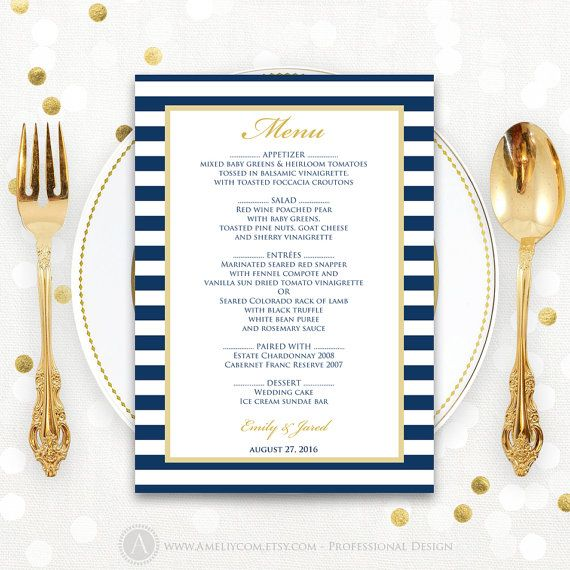 Printable Menu Nautic Striped Navy & Gold Summer by AmeliyCom https://www.etsy.com/listing/260445547/printable-menu-nautic-striped-navy-gold