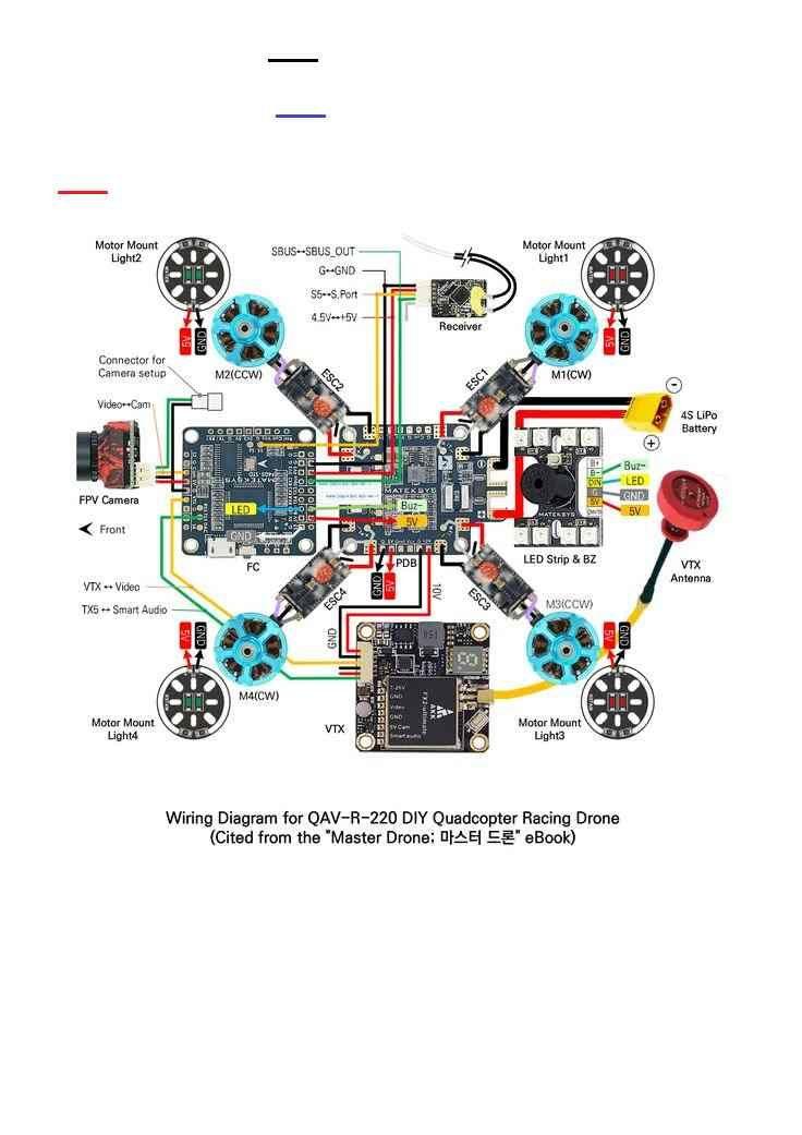 Wiring Diagram For Qav R 220 Diy Quadcopter Racing Drone Br Vliegtuig Projecten Om Te Proberen Projecten
