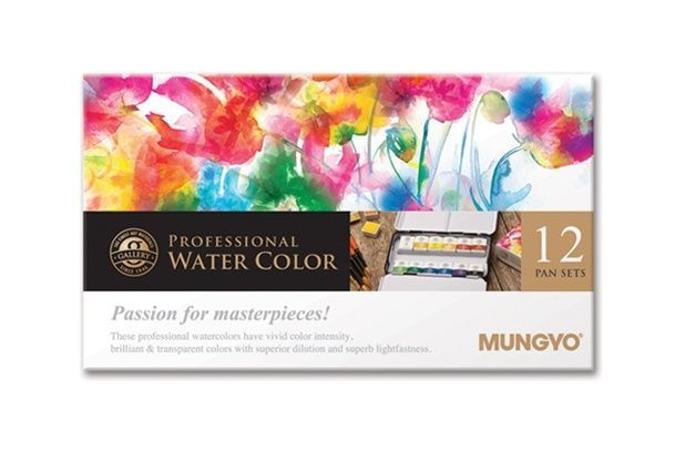 Watercolor Paint Mungyo Professional Pans Set 12 Color MWPH-12C #Mungyo