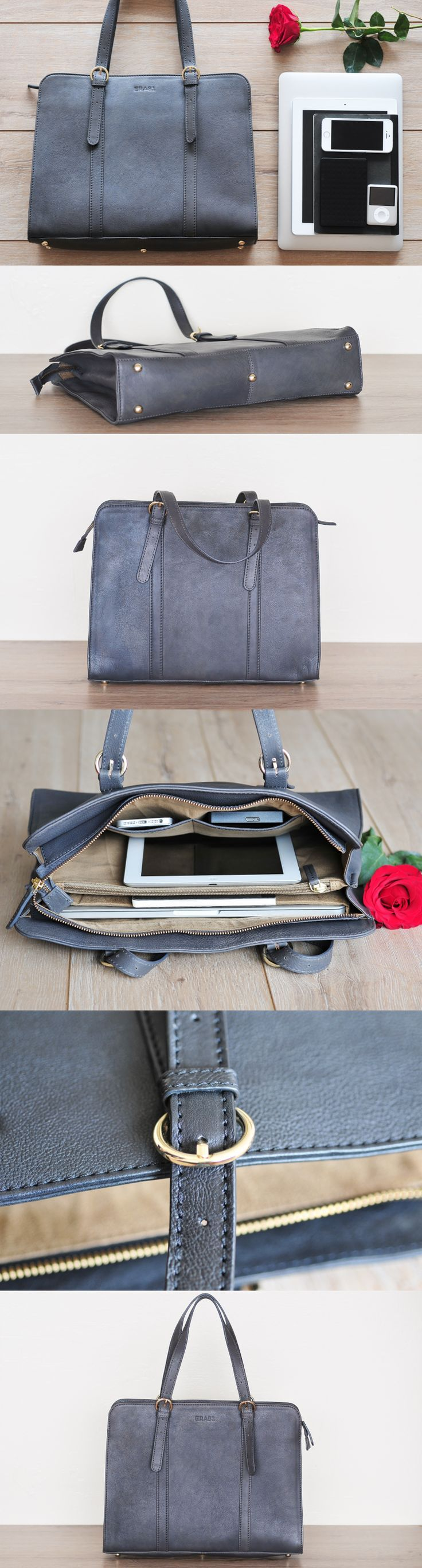 Exquisitely made in thick high quality premium vegetable tanned leather with soft suede fabric lining and golden tone industrial hardware, this multi-use laptop bag by #Era81 is an ultimate solution for a timeless business look.