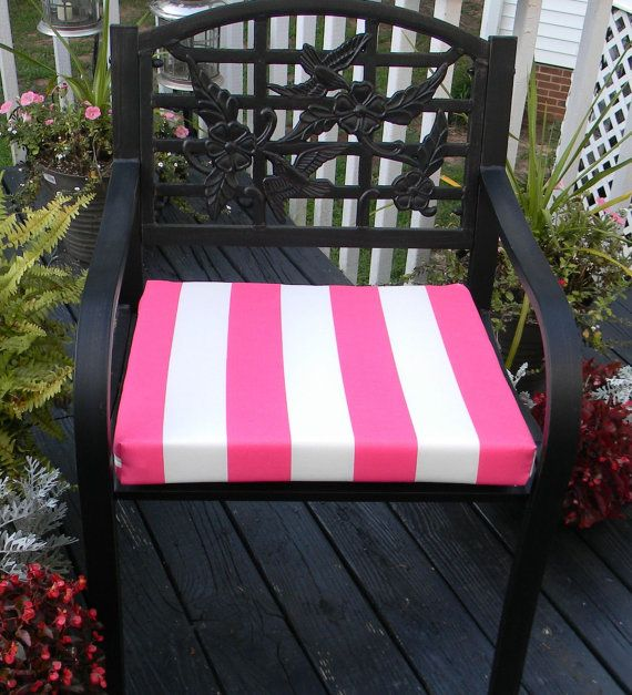 Indoor / Outdoor Preppy Hot Pink U0026 White By PillowsCushionsOhMy, $24.96