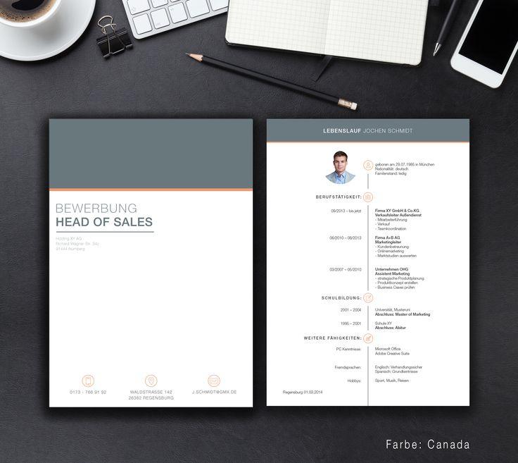 """Unsere Bewerbungsvorlage """"Office File"""" in der Farbe Canada. Die Vorlage """"Office File"""" bringt Sie an die Pole Position. Lassen Sie mit dem klaren und einfachen Design alle anderen Mitbewerber hinter sich. Sie erhalten von uns ein Deckblatt, Anschreiben, Lebenslauf, Motivationsschreiben und eine Abschlussseite. Die Datei bekommen Sie als fertige Pages- oder Word-Datei inklusive Platzhaltertext mit Hinweisen."""