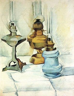 Still life with three lamps by Juan Gris. Order from DEKORAMI as a poster, canvas print, mural. Zamów jako obraz na płótnie, plakat lub fototapetę na DEKORAMI.pl.