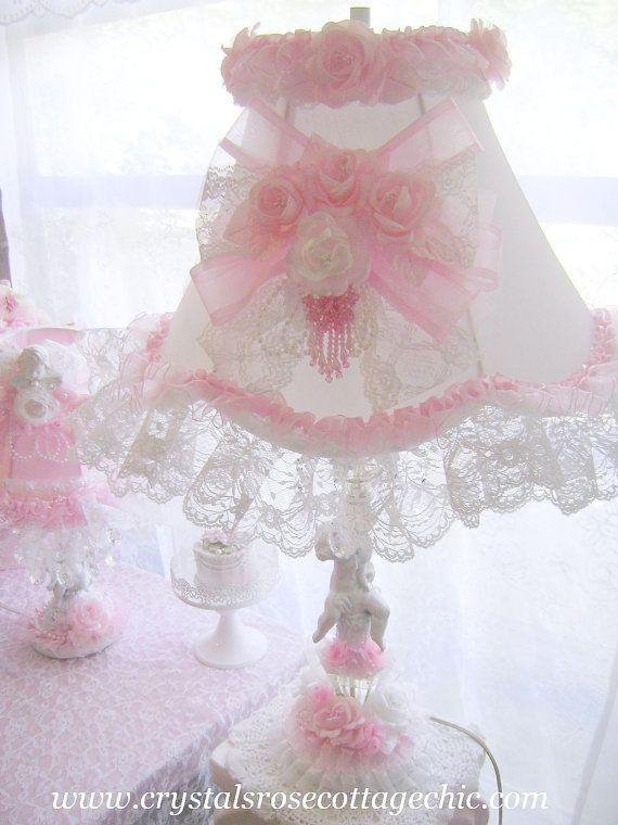 Vintage Romance Cherub Lamp Shabby Chic Pink White Crystal Prisms Romantic Rose Decor via Etsy