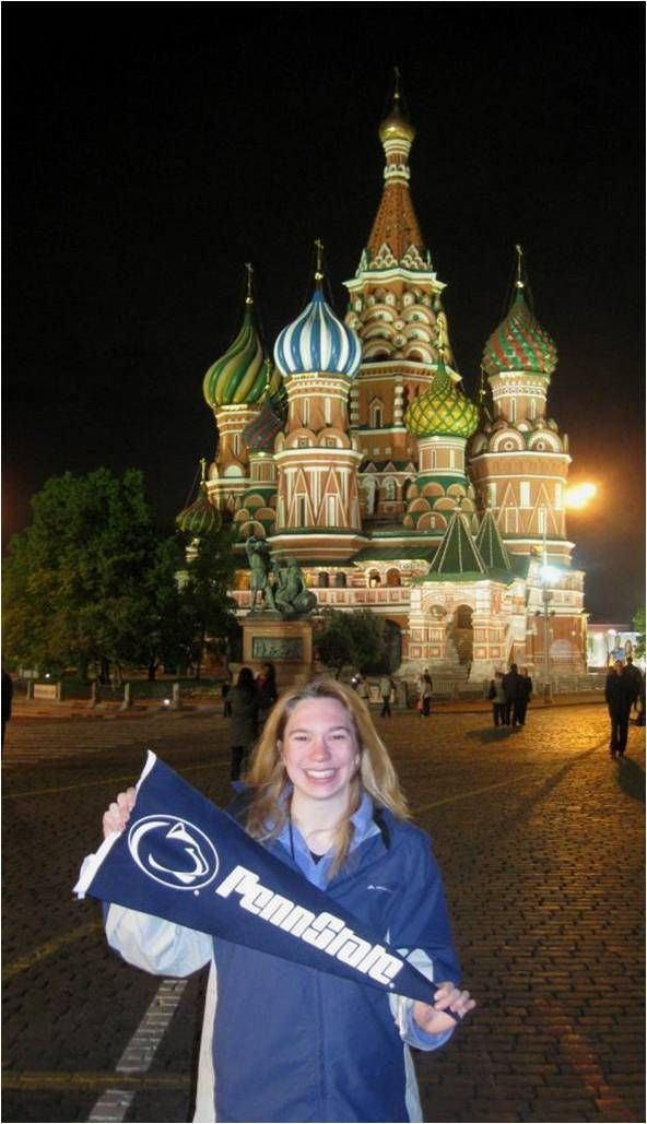 Showing the ever proud Penn State University colors of blue and white at the Red Square, located in Moscow, Russia.  This image was taken by Penn State student Ann Mesavage.