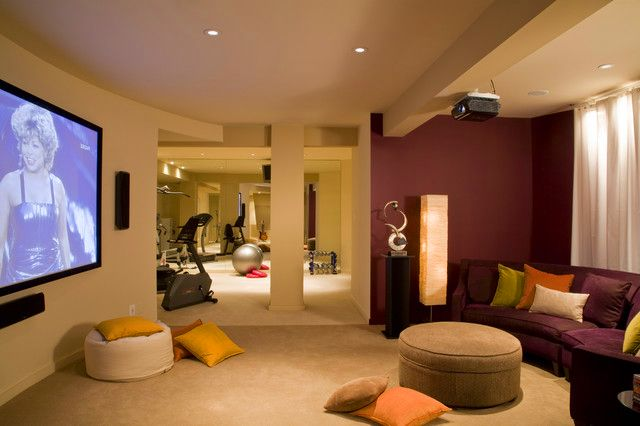 Only If It Comes With Tina Turner Modern Basement Home Gym Area Design With Tv Room