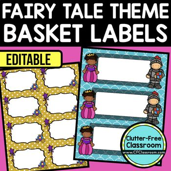 FAIRY TALE THEME Editable Labels by CLUTTER FREE CLASSROOM - These organizational labels have many uses in the classroom or home school. They can be classroom library labels, name tags for cubbies or desks, supply labels, used for organizing centers, and much more. Grab these cute printables today for your preschool, Kindergarten, 1st, 2nd, 3rd, 4th, 5th, or 6th grade classroom or home school.  And make sure to check out the links for some FREE downloads to help make your space look great!