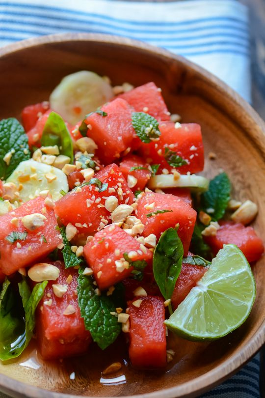 Thai Watermelon Salad  www.tablescapesbydesign.com https://www.facebook.com/pages/Tablescapes-By-Design/129811416695