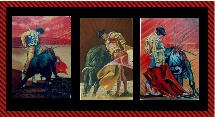 tres cuadros al oleo sobre lienzo en la misma tematica