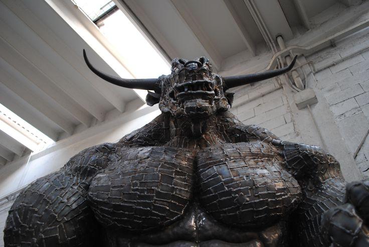 Frontal view / Minotaur / Greek Mythology / Scrap Metal / Sculpture /
