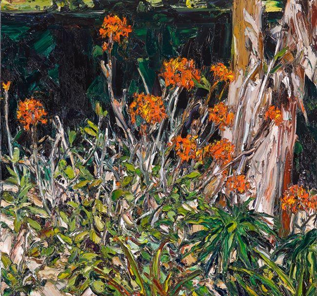 © Nicholas Harding ~ Wooli Garden (crucifix orchids with avocado and banana palm) ~ 2013 oil on belgian linen at Olsen Irwin Gallery Sydney Australia