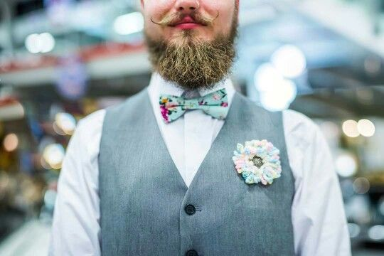 Vintage Wedding photo by letfus.com. Groom's outfit. Grey waistcoat, floral bow tie