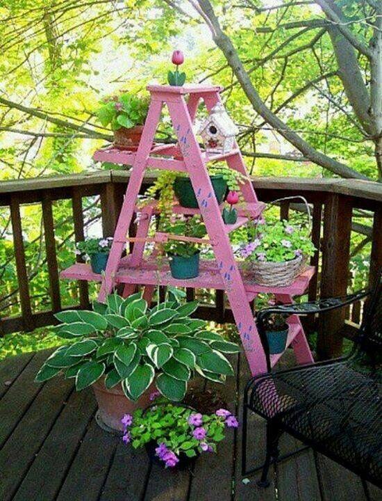 18 besten balkon bilder auf pinterest | balkon ideen, balkon ... - Blumenstander Selber Bauen Alte Holzleiter