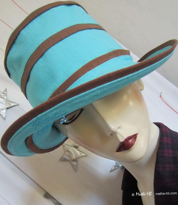 chapeau d'été châtaigne chocolat et Nil bleu turquoise coton et lin, couvre-chef soleil vacances campagne mer voyage-croisière sable-plage de la boutique MatheHBcouture sur Etsy