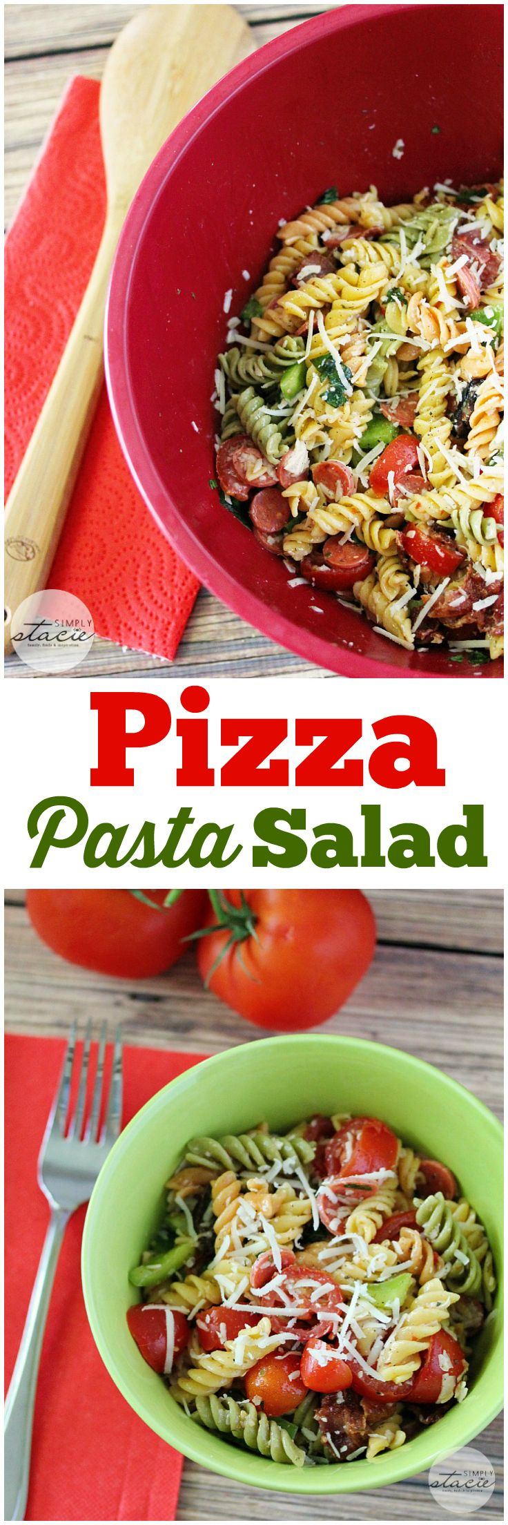 Pizza Pasta Salad - A zesty pasta salad filled with all my fave pizza toppings!