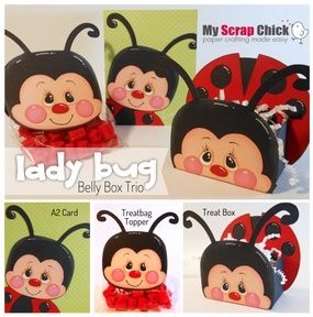 Ladybug Treat Box Trio: click to enlarge