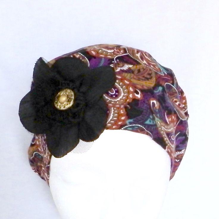 Handmade summer chemo headwear, nice colors, light and comfortable made with  Chapeau de chimio pour l'été, frais et confortable, fait avec