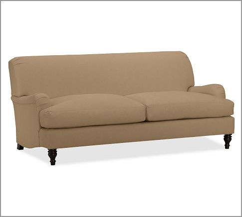 pottery barn carlisle sofa in walnut brushed canvas