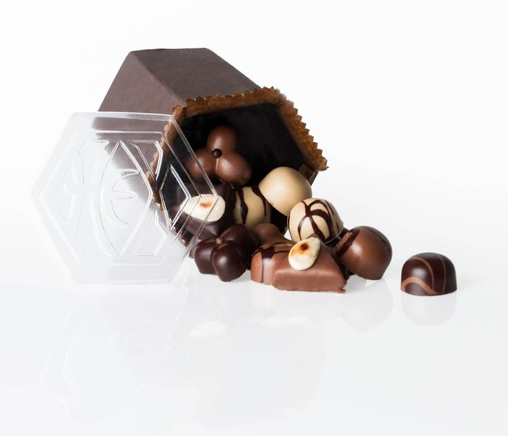 Chocolate in a box, product photography with a classic white background