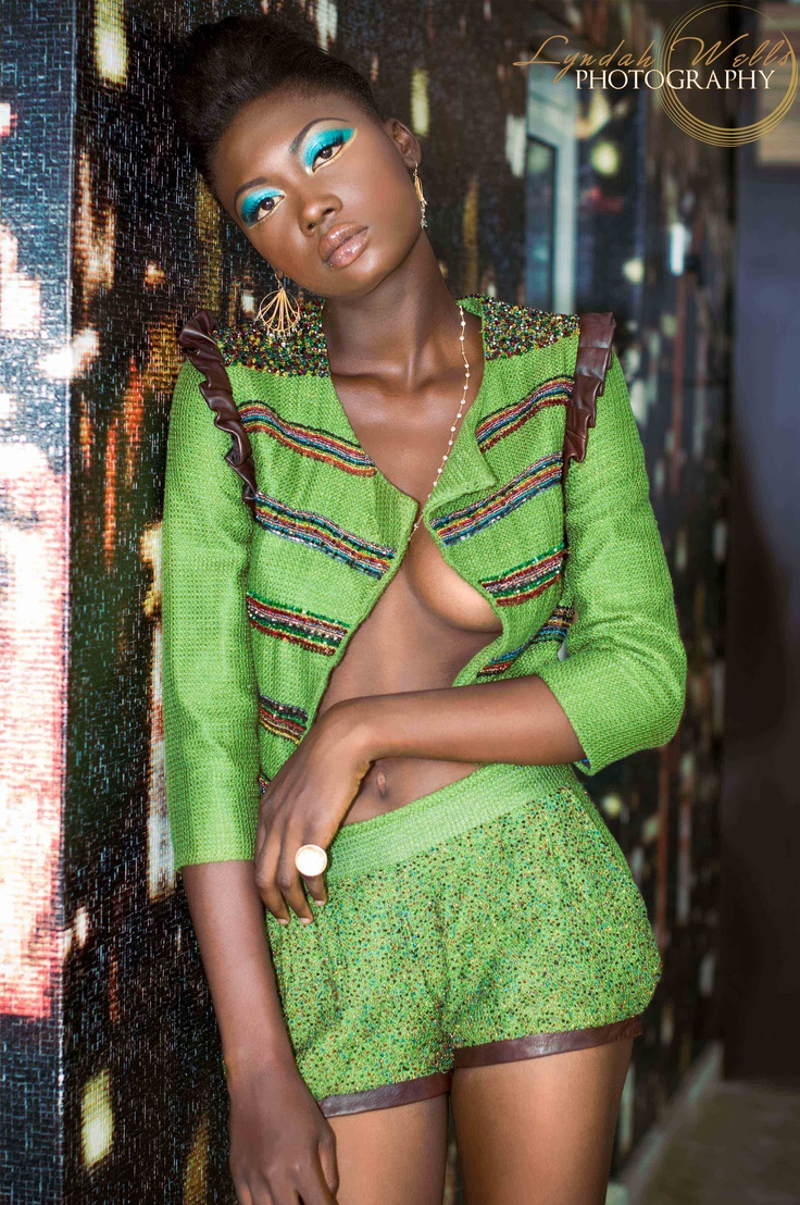 Black Model Wearing Green Jbl Outfit Shot In Lagos