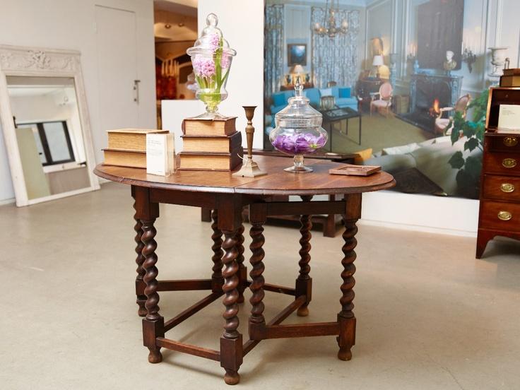 English Solid Oak Gate Leg, Drop Leaf Table With Barley Twist Legs, C1920