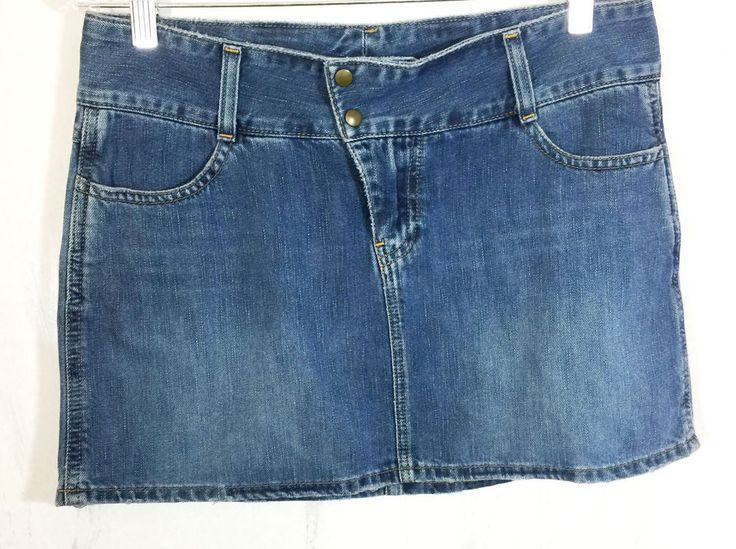 American Eagle Women's Sz 4 Denim Jean Mini Skirt Button Fly Snap Distressed  #AmericanEagleOutfitters #Mini