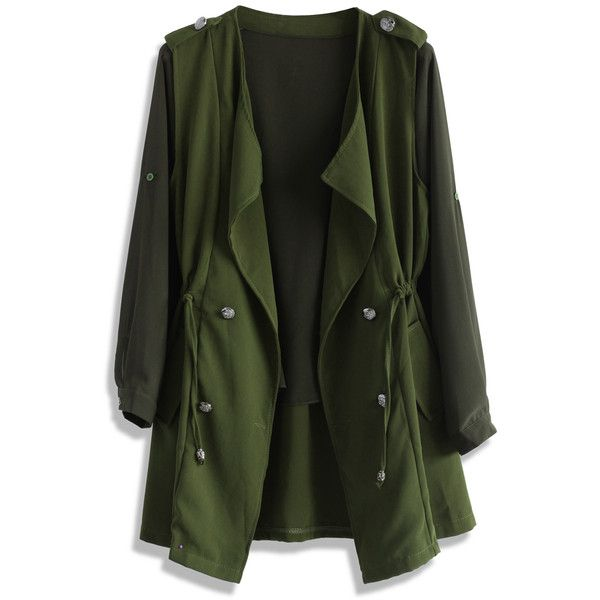 Chicwish Layers of Chic Two Piece Waterfall Trench ($51) ❤ liked on Polyvore featuring outerwear, coats, green, long coat, long trench coat, green trench coat, sleeveless coat and chiffon coat