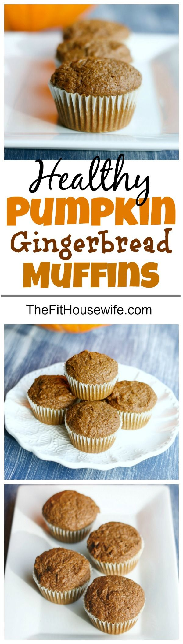 Healthy Pumpkin Gingerbread Muffins. Super moist muffins bursting with flavour and made with clean eating ingredients.