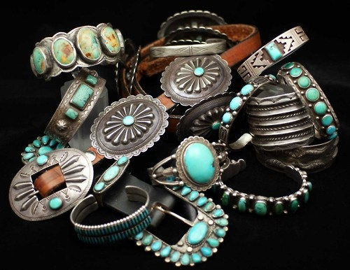 Vintage Turquoise and Silver, Navajo Concho Belt