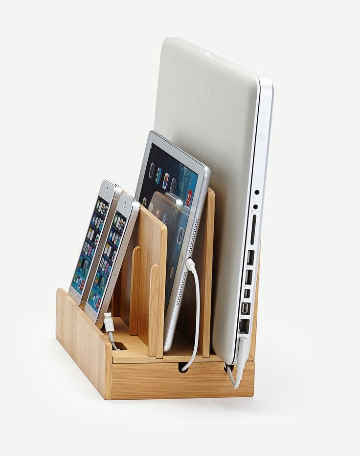 Bamboo Multi Device Charging Station and Cord Organizer for Smartphones, Tablets and Laptops.