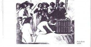 Straf voor prostituees en koppelaars in Lyon. Ondergedompeld worden totdat de hoed van suiker is gesmolten. In de  praktijk betekende dat de verdrinkingsdood