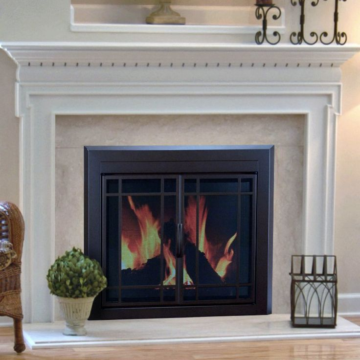 Pleasant Hearth Enfield Prairie Cabinet Fireplace Screen And 9 Pane Smoked Glass Doors
