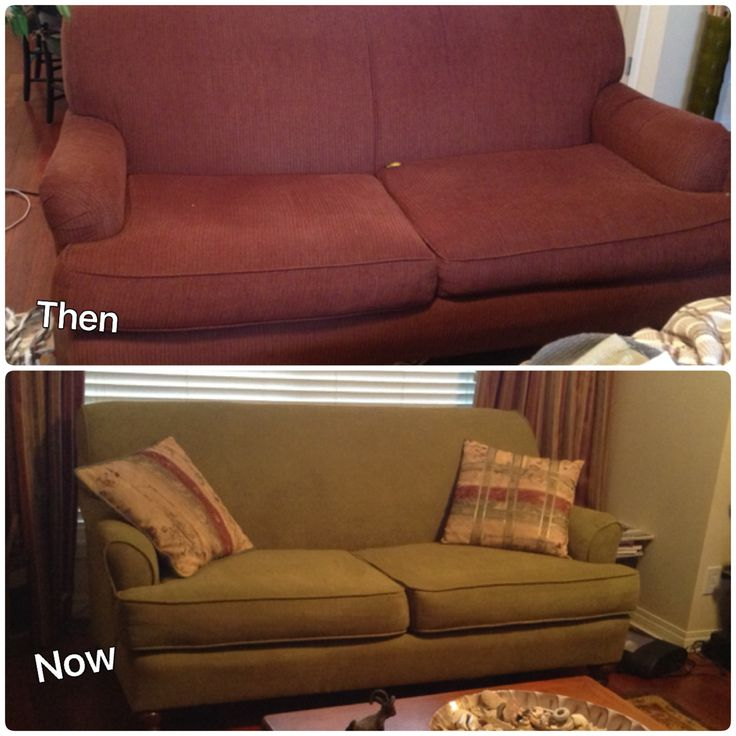 Sofa reupholster - before and after