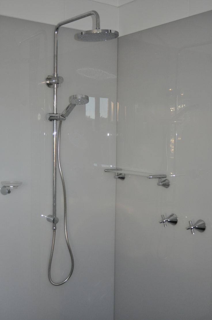 Glass wall panels bathroom - Acrylic Shower Splashback Walls Painted In A Soft Grey Colour Installed By Ozziesplash