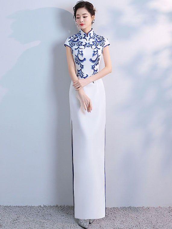 98f57cd0134 White Split Qipao   Cheongsam Evening Dress with Blue Embroidery -  CozyLadyWear
