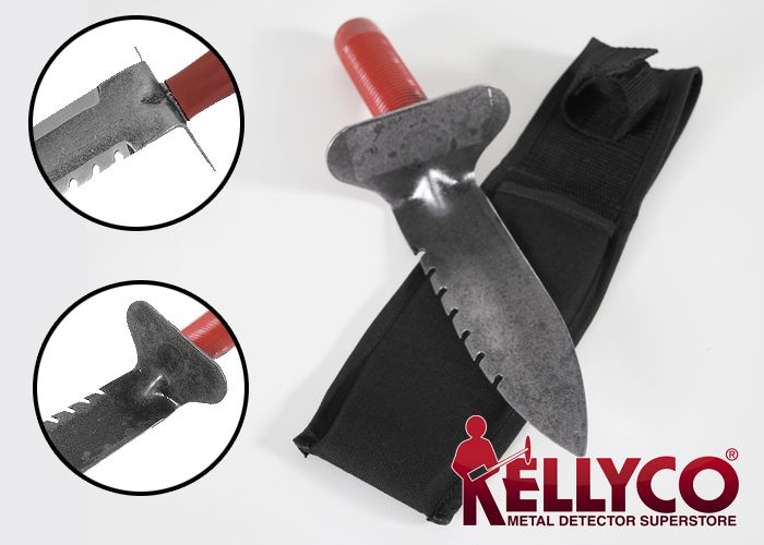 The Lesche digging tool. These are heavy duty and will break through most soils. The comfortable rubber grip handle prevents your hand from sliding down on the digging part of the tool. The steel blade is rust resistant and tempered for long edge life.