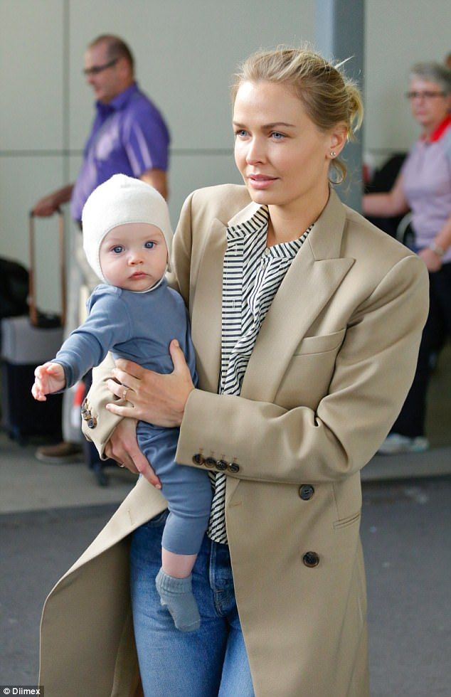 Gorgeous: Lara Worthington (nee Bingle) showed off her adorable blue-eyed baby boy Racer f...